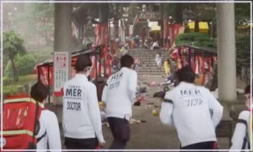 TOKYO MER ロケ地 神社 お祭り事故